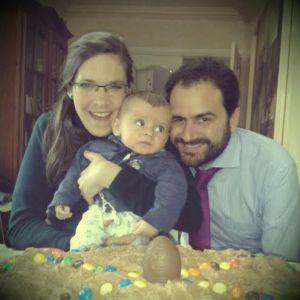 Con Miriam y Miguel, en la fiesta de Pascua de 2014.